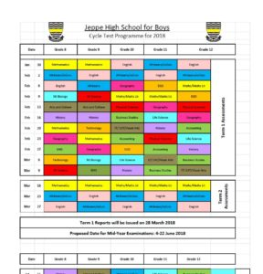 Cycle Test Timetable 2018 Jeppe High School For Boys border=